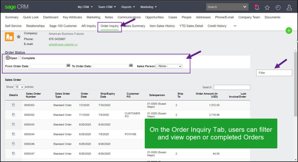 Sage 100 CRM Order Inquiry Tab